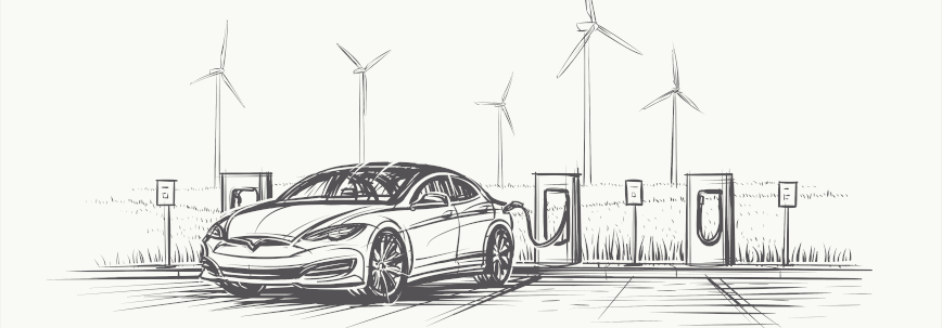 Caricature of an electric car with windmills in the background